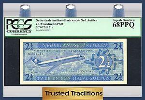 """TT PK 21a 1970 NETHERLANDS ANTILLES 2 1/2 GULDEN """"JETLINER"""" PCGS 68 PPQ SUPERB"""