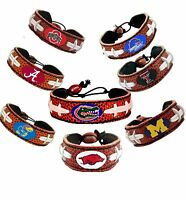 NCAA Classic Football Bracelet Wristband Genuine Leather - Pick Team