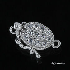 Sterling Silver Clear CZ Crystal Oval One-strand Pearl Box Clasp #51113