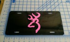 Browning license plate tag (black and pink)