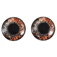 Pair of 40mm Red and Black Fantasy Glass Eyes Cabochons Set - Taxidermy, Dolls