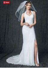 de0775d81264 Davids bridal White Wedding Dress Size 8 Chiffon Gown w/ high slit NWT