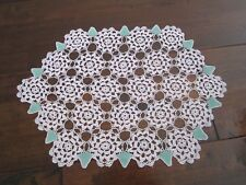 Hand Crocheted Doily Pink Flowers with Green leaves 37 x 29cm