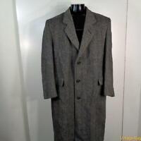 EASTWICK Vtg Long Wool Coat Overcoat Mens Size L 44 Gray herringbone