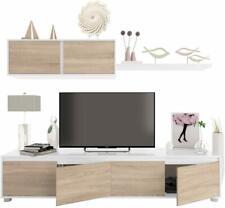 Parete attrezzata mobile porta TV sala pranzo soggiorno bianco lucido e rovere
