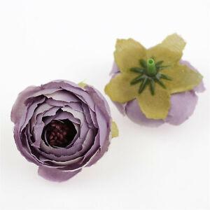 20-100Pc Silk Camellia Artificial Flower Head Tea Rose Buds Wreath Wedding Decor