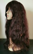 red curly wavy frizzy fringe very long hair wig fancy dress cosplay free cap