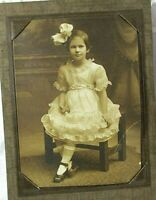 Antique Vintage Photo CDV Girl Early 20th Century Huge Hair Bow Short Hair Dress