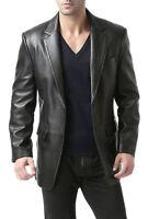 Men's Lambskin Real Leather Blazer Soft TWO BUTTON Black Vintage Coat Jacket