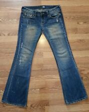 IBS Denim Independent Body & Soul Jeans Studded Distressed Flare Size 29
