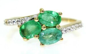 Natural Emerald & White Zircon 9ct Yellow Gold Ring size N ~ 6 3/4