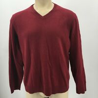 Eddie Bauer Sweater Pullover V Neck Long Sleeves Knit Cotton Cashmere Red Mens M