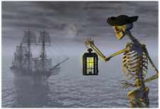 Skeleton Pirate With Ghost Ship Poster Print, 19x13