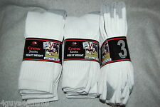 Mens 9 Pr White Crew Socks HEAVY WEIGHT Fits Sock Size 10-13 NINE PAIR LOT