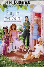 6110 SEWING PATTERN~UNCUT~BARBIE DOLL CLOTHES:SWIMSUIT+WRAP SKIRT++