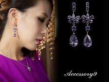 amethyst purple cubic zirconia wedding party butterfly chandelier earrings A11