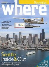 KENMORE AIR SEATTLE SEAPLANE AIRLINES D/H BEAVER  OVER SEATTLE WHERE MAGAZINE