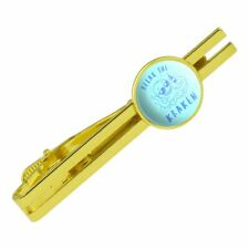 Relax the Kraken Funny Humor Round Tie Bar Clip Clasp Tack Gold Color Plated