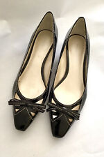 Etienne Aigner Black Patent Leather Bow Slip On Wedge Heel Women's Size 6.5 M