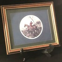 English Fox Hunt Scene Print, Framed and Matted, Nice Vintage Condition