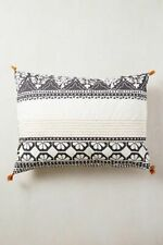 Anthropologie Enmore Embroidered Pillow Shams Standard Queen Cotton Set of 2