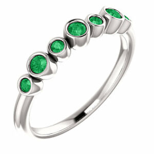 Chatham Created Emerald Bezel Set Ring In Platinum