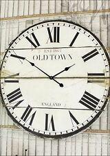 Reloj de Pared Francés Vintage número romano Old Town Inglaterra 80 CM Blanco Grande De Madera