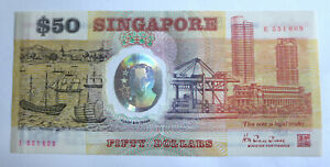 Singapore $50 polymer Commemorative note 1990 fifty Dollars 25th independence