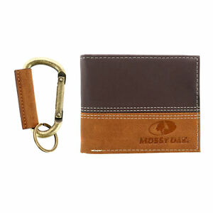New Mossy Oak Two-tone Bifold Wallet and Carabiner Keychain Boxed Gift Set