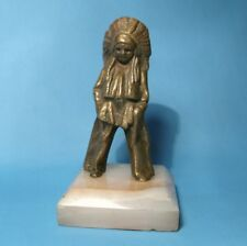 Rare Antique 1920 Indian Chief Costumed Boy Bronze Figure/Figurine w/Marble Base