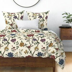 Historic Floral Burgundy Antique Flowers Sateen Duvet Cover by Roostery