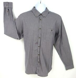 Ted Baker Dress Shirt Mens Sz 7 (17/37) Gray Houndstooth 100% Cotton Long Sleeve