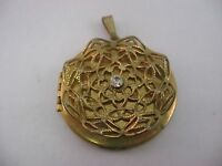Nice Pendant Clear Jewel Center Hinged Compartment Vintage Antique Jewelry