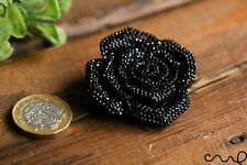 Handmade Sparkle Black Rose Brooch Accessorise Gift Dotted Rhinestone Cabochon
