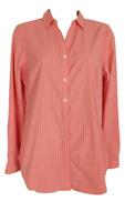 L.L. Bean Women's Size XS Travel Tunic Shirt Coral Check Roll Tab Sleeves UPF 50