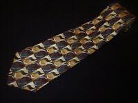 J Garcia Tie Gold Black Check Square Abstract Mens Vintage 100% Silk Necktie