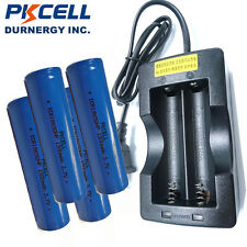 PKCELL 18650 Battery 30A High Amp 20C For Vape Mod x4 + Smart Dual Charger