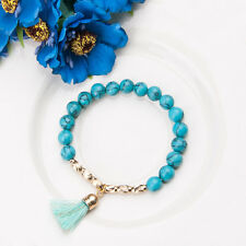 Handmade Turquoise Beads Gold Plated Charm Tassel Bracelet Bangle Hand Cuff