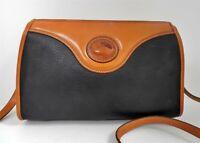 Dooney Bourke Vintage Black British Brown Leather Medium Crossbody Bag USA