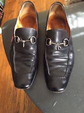 Mens GUCCI PRINCETON BLACK 9.5 / 10 D Leather Loafers Slip Ons Horsebit 181809