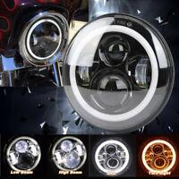 "7"" Frontscheinwerfer 60W Hi/Lo LED mit Halo Angel Eye E-Geprüft für Harley Honda"