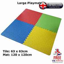 4pcs Interlocking EVA Soft Foam Exercise Floor Mats Play Area Multicoloured