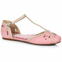 Bettie Page BP100-KATIE Pink Two Toned T-Strap Flat Shoe