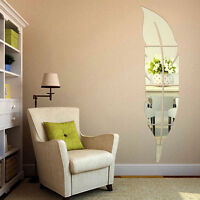 Removable Feather Mirror Wall Stickers Decal Art Vinyl Home Room Decoration Hot