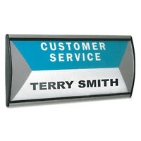 Advantus People Pointer Wall/Door Sign Aluminum Base 8 3/4 x 4 Black/Silver