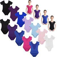 Girls Short Sleeves Ballet Dance Wear Leotard Kids Stretchy Gymnastics Bodysuit
