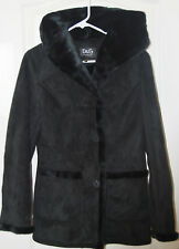 DOLCE & GABBANA D&G black faux FUR suede duffle COAT HOOD S 2 4 Italy NEW $799
