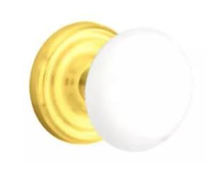 Emtek Ice White Porcelain Privacy Door Knob Set