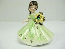 Josef Originals Vintage Figurine Girl With Green Dress Holding A Green Flower