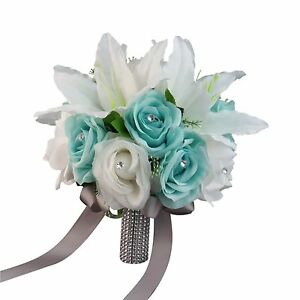 """10"""" Bouquet-Aqua White with gray bling ribbon Artificial lily and rose."""